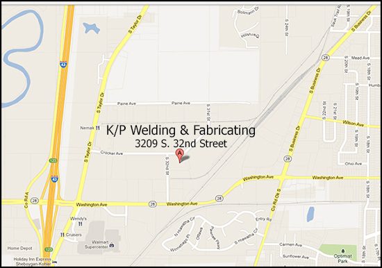 Map to KP Welding 3209 S. 32nd St., Sheboygan